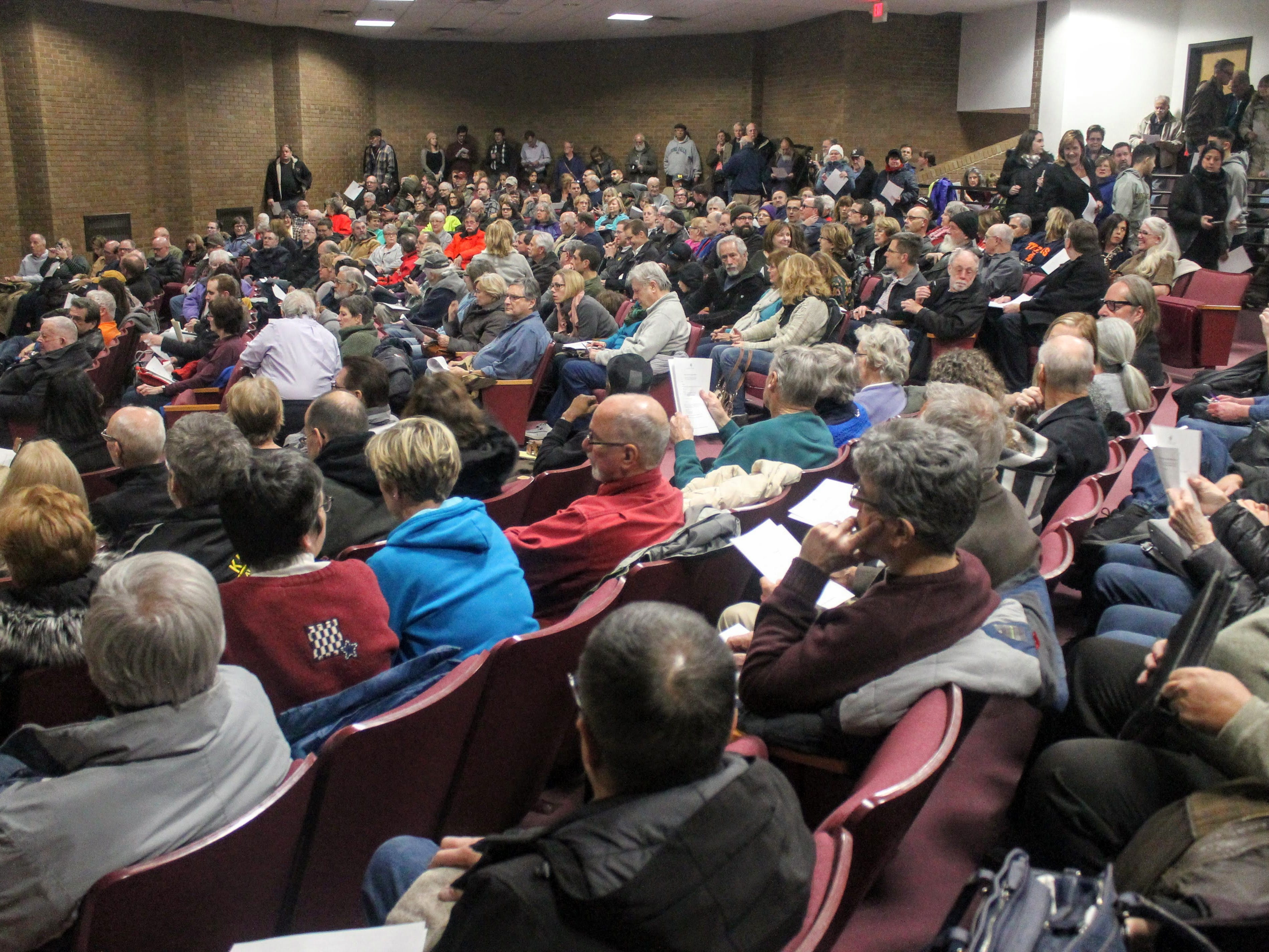 The auditorium in the Robert and Janet Bennett Library in Livonia was standing room-only for the Save Hines Park citizens meeting Jan. 9.