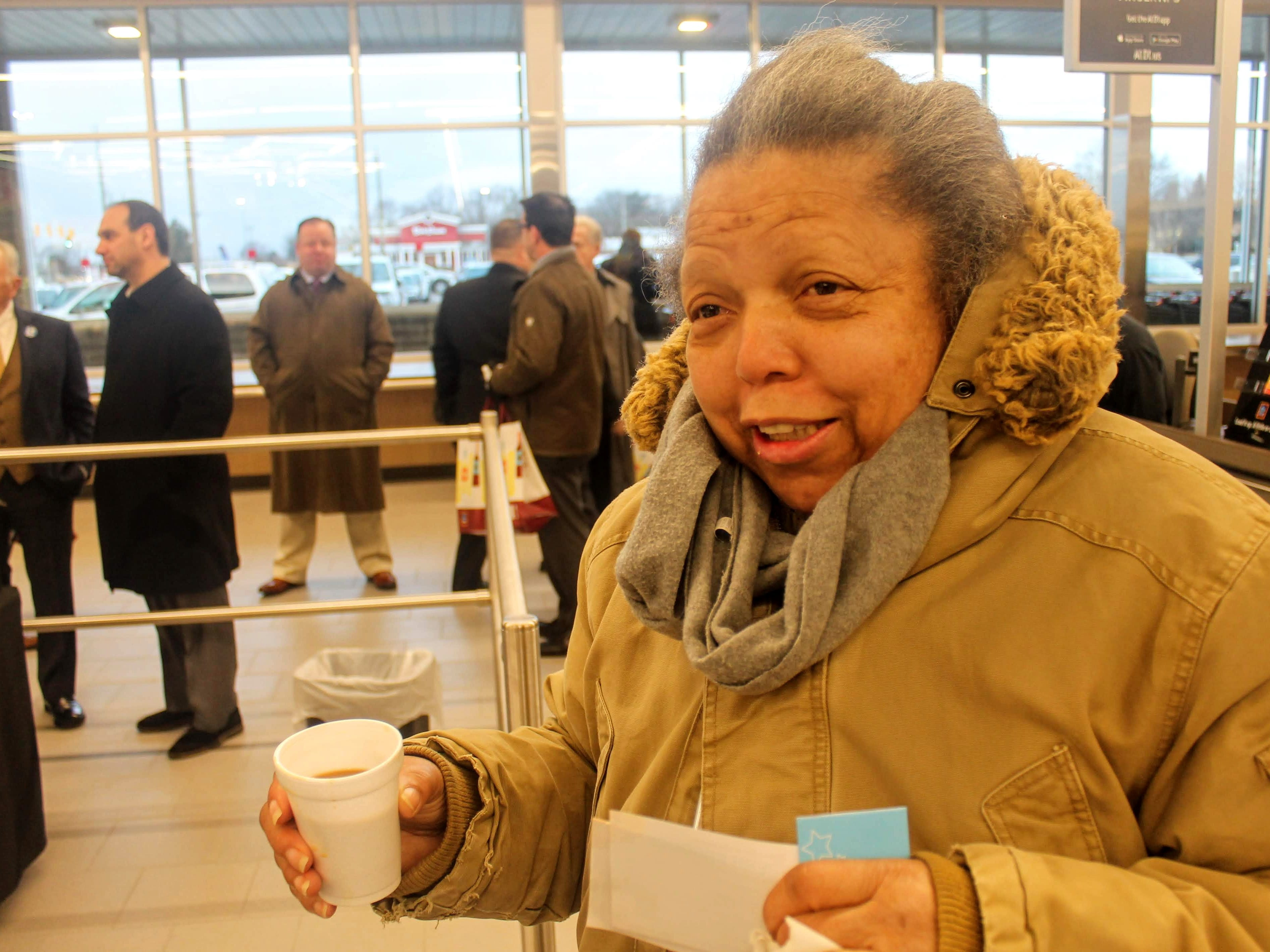 Detroit resident Pat Mitchell was first in line at the new Aldi in Livonia, which held its grand opening Thursday morning.