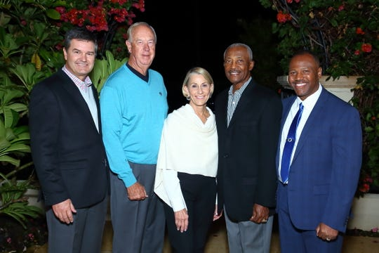 L - RJohn Powell, Jr., chair of the board of directors, John Foster, Joan Foster, Paul Warfield, donors and reception guests Quinton Egson, CEO of the Boys & Girls Clubs of Coachella Valley