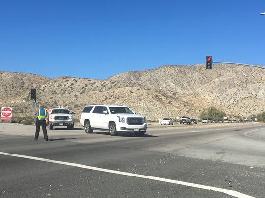 Traffic is diverted onto Indian Canyon from Highway 62 near Desert Hot Springs. A collision happened Thursday morning on westbound Highway 62.