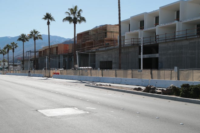 Work continues on the Andaz hotel project on North Indian Canyon Drive, Palm Springs, Calif., January 10, 2018.