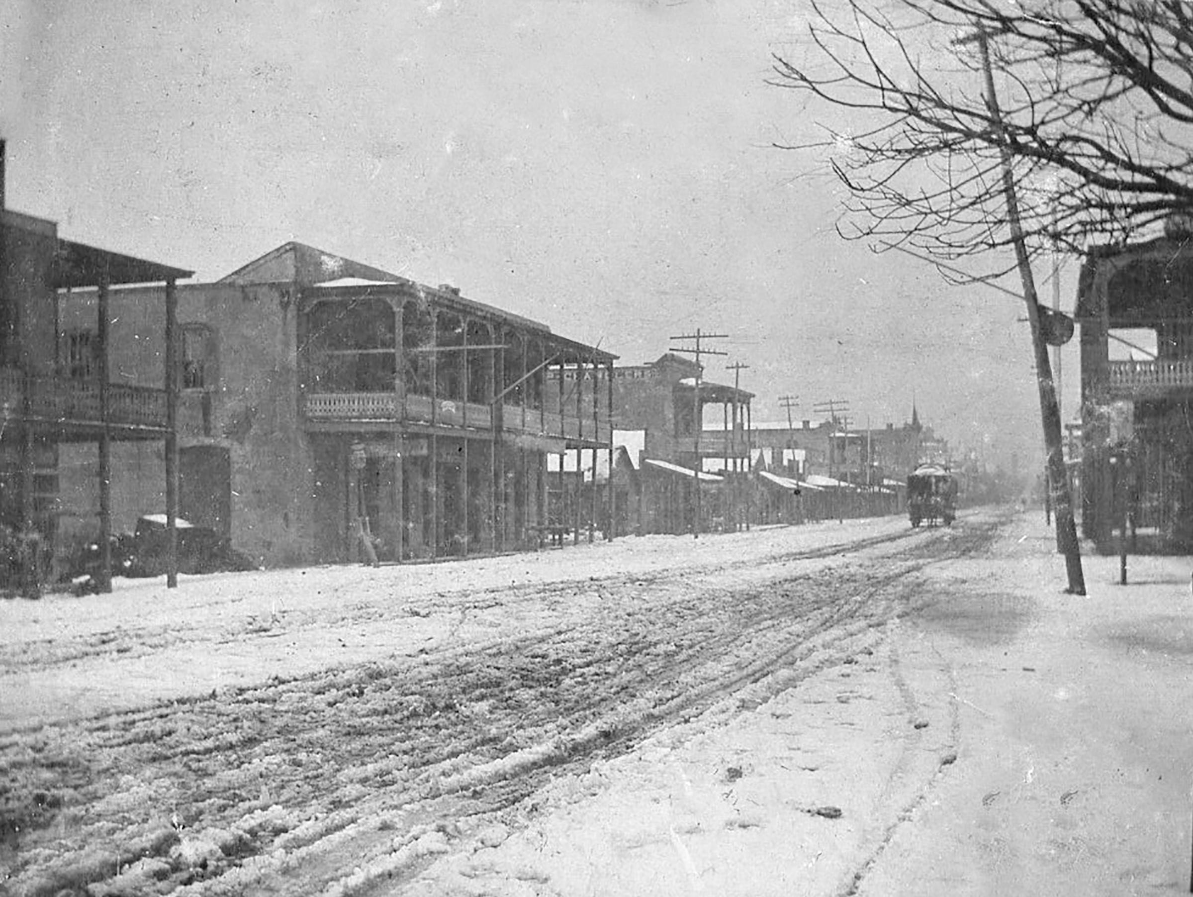 Snow in Pensacola, late 1890s on Palafox Street.