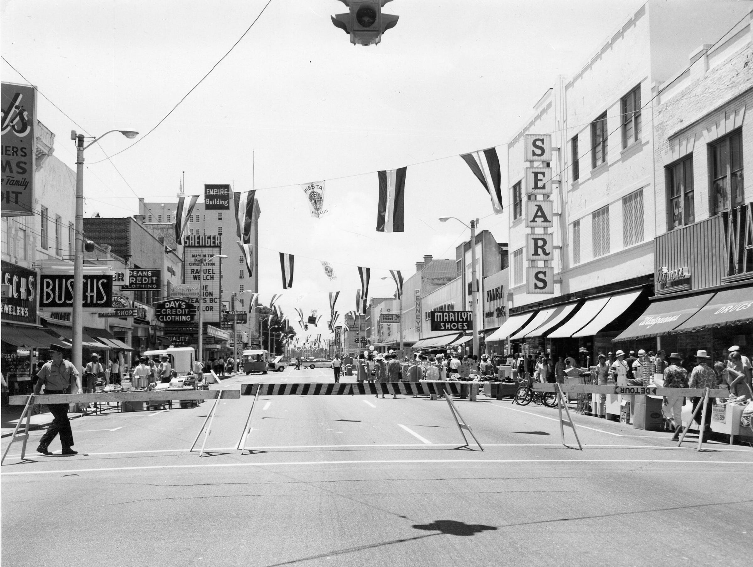 Parade heading south on Palafox Street in 1960s.