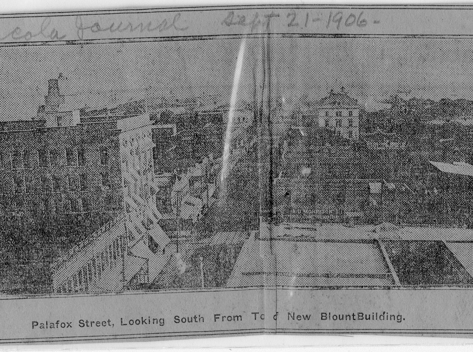 Newspaper clipping from Pensacola Journal, Sept. 21, 1906, of Palafox Street.