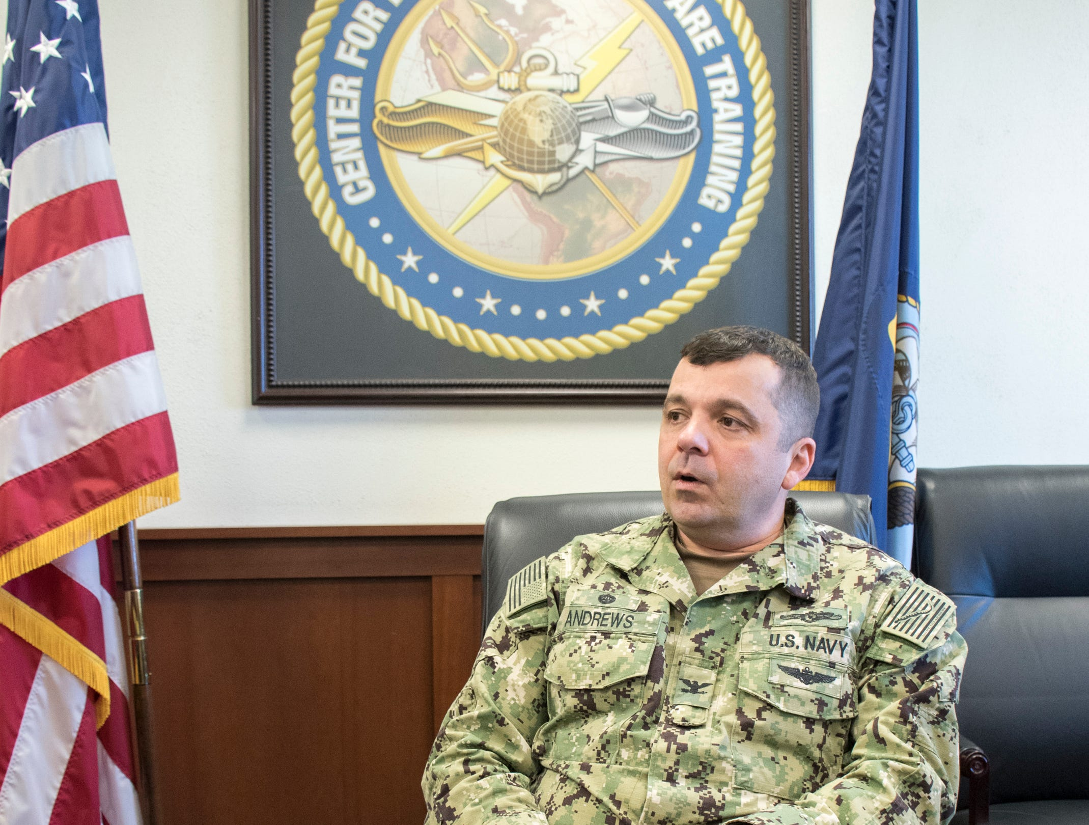 Capt. Nicholas Andrews, Center for Information Warfare Training commanding officer, talks about the building projects and expansion underway at NAS Pensacola Corry Station in Pensacola on Thursday, January 10, 2019.