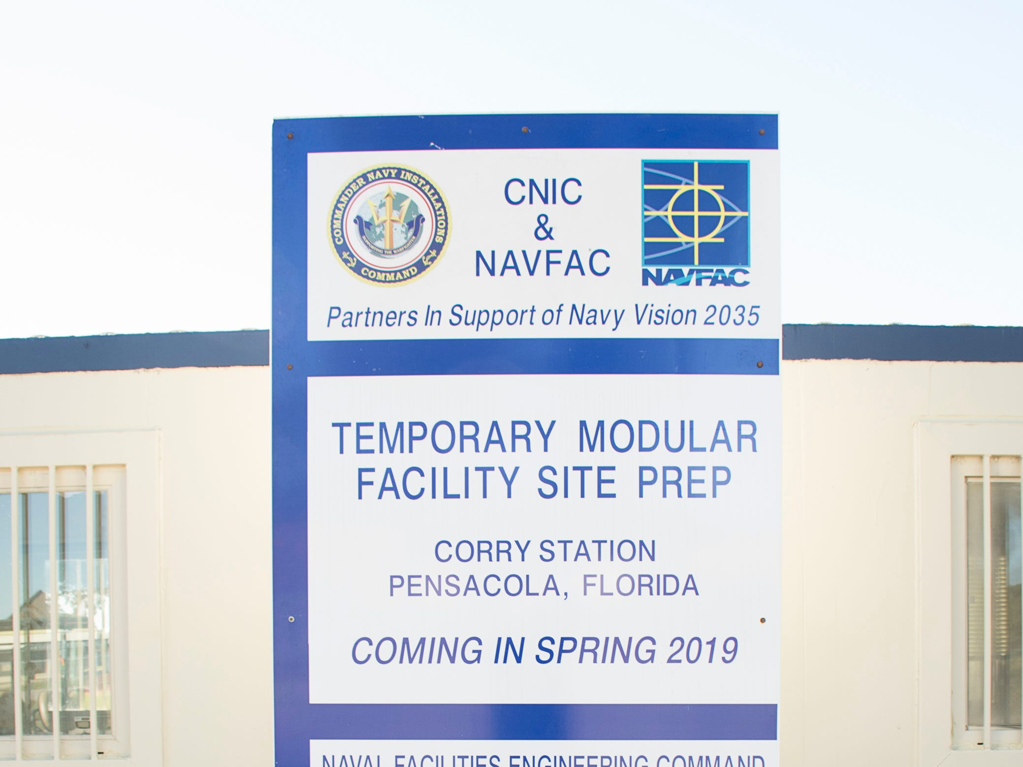 Construction of temporary modular facilities is underway at NAS Pensacola Corry Station in Pensacola on Thursday, January 10, 2019.