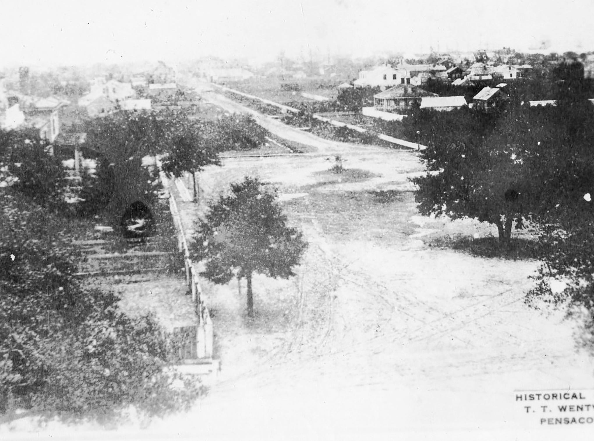 Palafox Street, in 1844, looking south from the present Post Office.