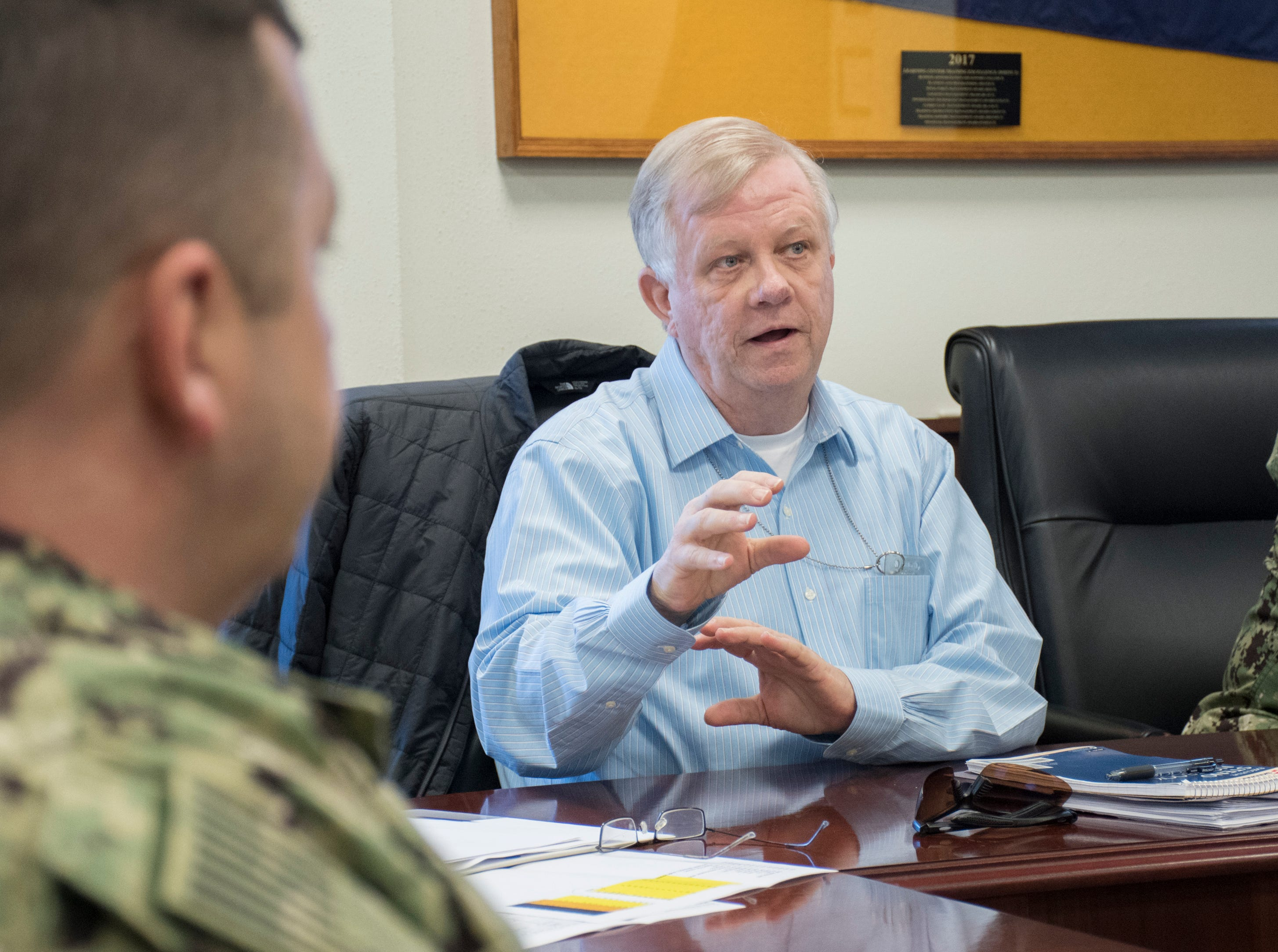 Director of training Charles Sauter talks about the building projects and expansion underway at NAS Pensacola Corry Station in Pensacola on Thursday, January 10, 2019.