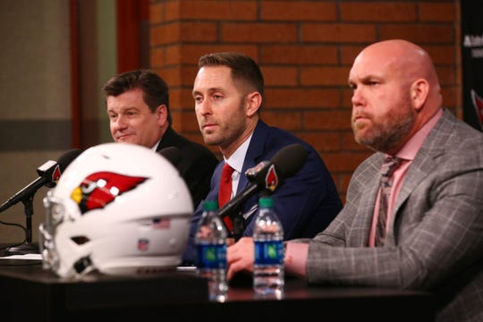 Arizona Cardinals president Michael Bidwill (left) and GM Steve Keim introduce new head coach Kliff Kingsbury on Jan. 9, 2019 at the Cardinals Training Facility in Tempe, Ariz.