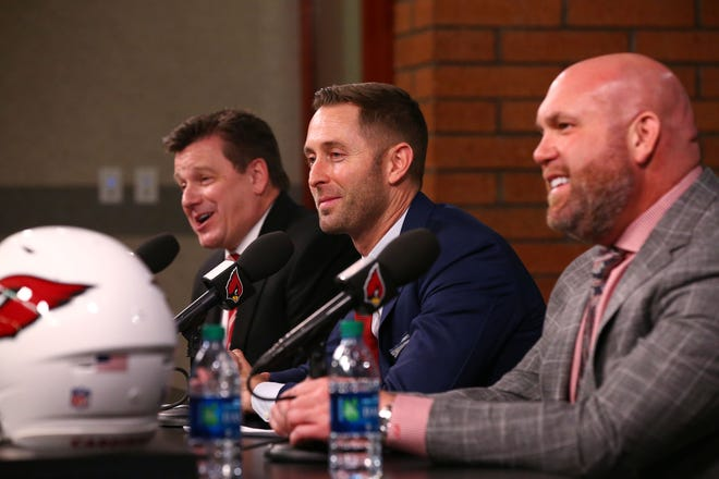Arizona Cardinals president Michael Bidwill (left) and General ManagerSteve Keim introduce their new head coach Kliff Kingsbury during a press conference on Jan. 9 at the Cardinals Training Facility in Tempe, Ariz.