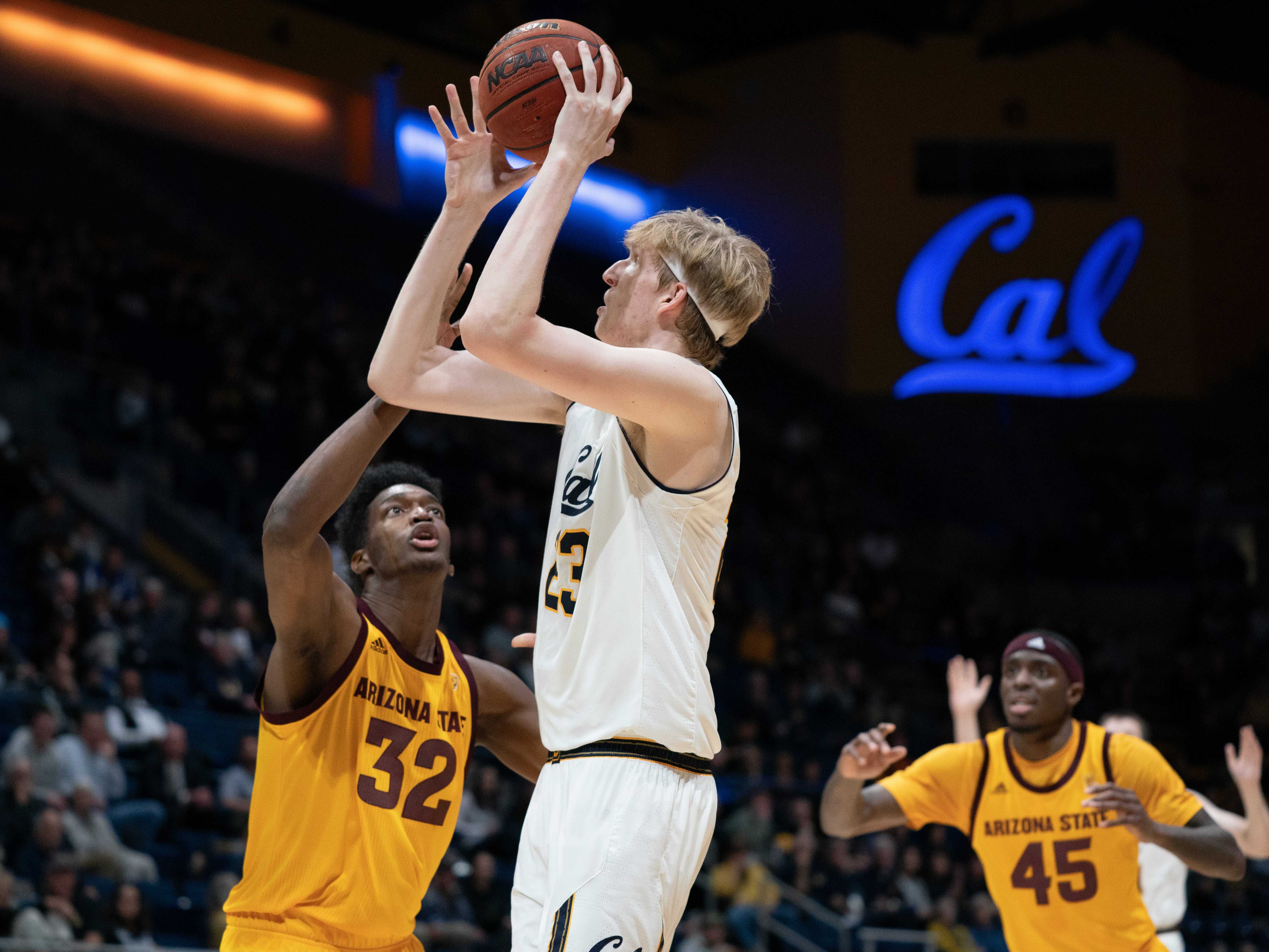 Jan 9, 2019; Berkeley, CA, USA; California Golden Bears center Connor Vanover (23) shoots the basketball against Arizona State Sun Devils forward De'Quon Lake (32) during the first half at Haas Pavilion. Mandatory Credit: Neville E. Guard-USA TODAY Sports