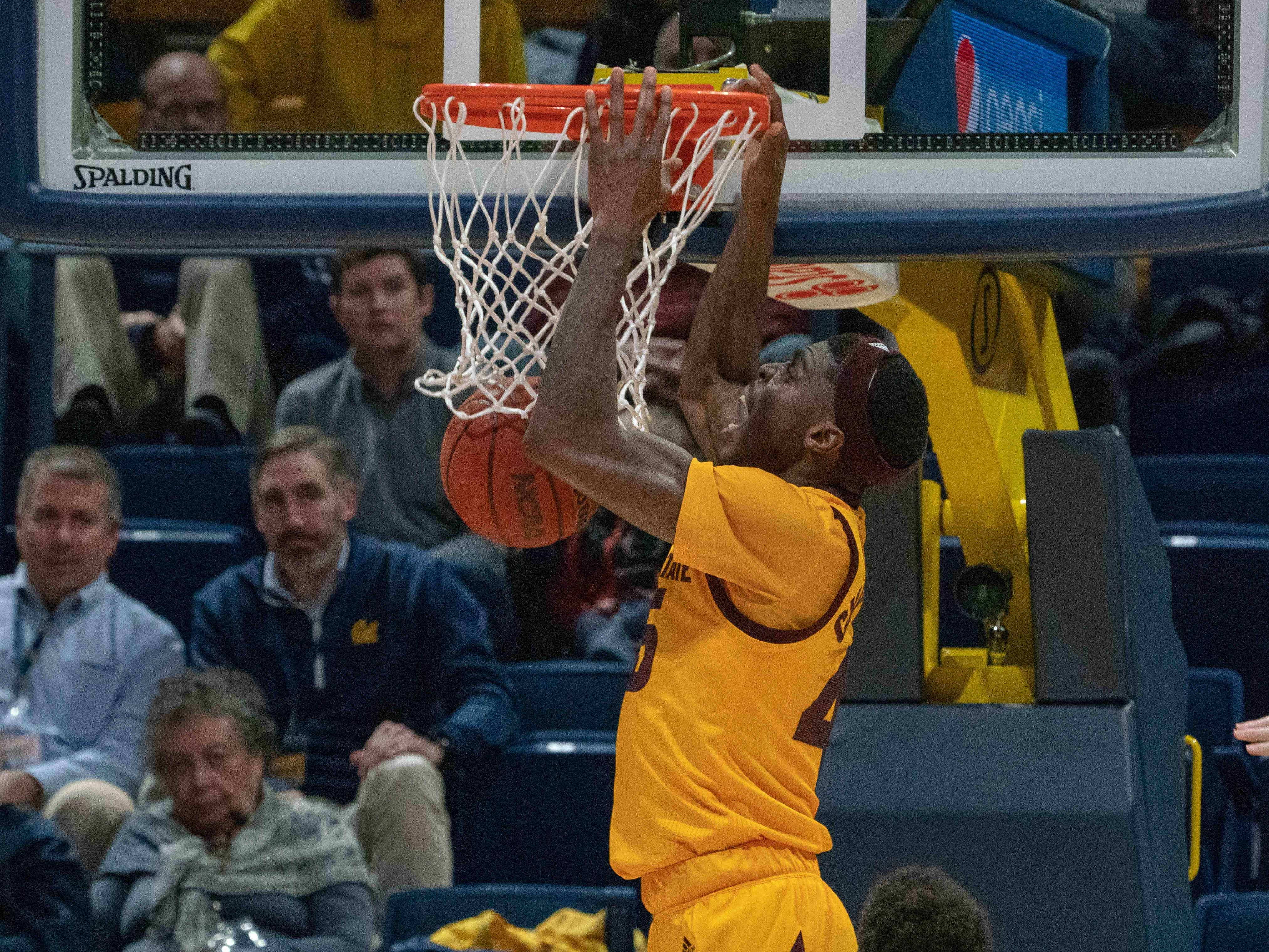Jan 9, 2019; Berkeley, CA, USA; Arizona State Sun Devils forward Zylan Cheatham (45) dunks the basketball during the first half against the California Golden Bears at Haas Pavilion. Mandatory Credit: Neville E. Guard-USA TODAY Sports