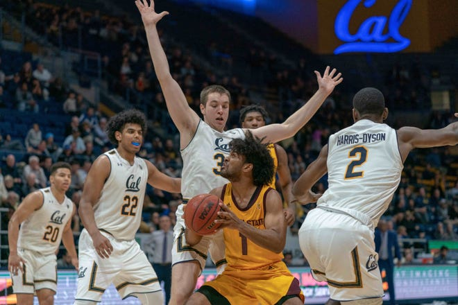 Jan 9, 2019: Arizona State Sun Devils guard Remy Martin (1) drives in against California Golden Bears guard Juhwan Harris-Dyson (2) and California Golden Bears forward Grant Anticevich (34) during the second half at Haas Pavilion.