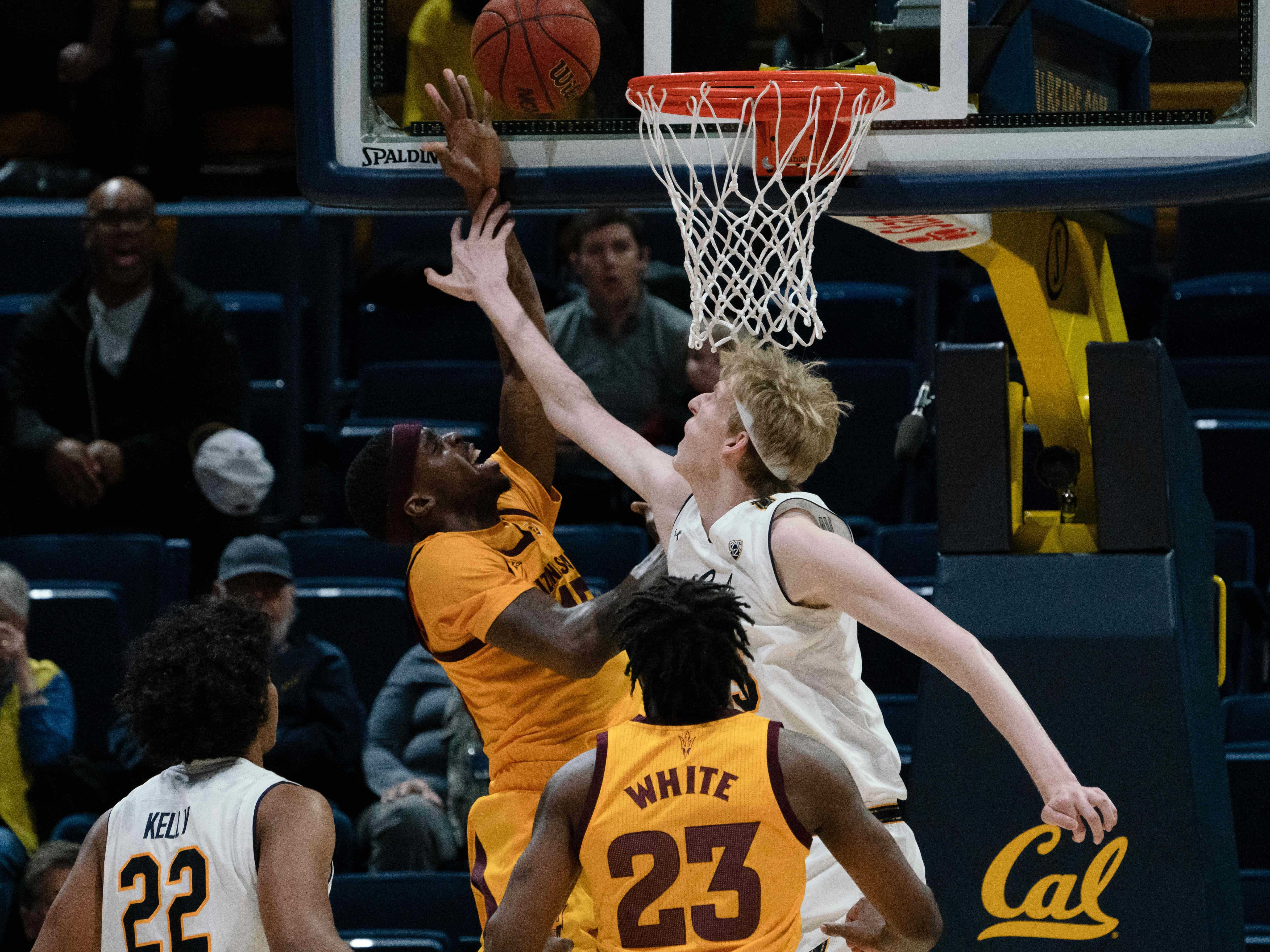 Jan 9, 2019; Berkeley, CA, USA; Arizona State Sun Devils forward Zylan Cheatham (45) shoots the basketball against California Golden Bears center Connor Vanover (23) during the first half at Haas Pavilion. Mandatory Credit: Neville E. Guard-USA TODAY Sports