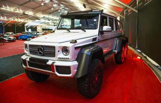 This 2014 Mercedes Benz G-63 6x6 will be auctioned off at the 48th Annual Barrett-Jackson Scottsdale Collector Car Auction, which runs January 12-20 at WestWorld. It is extremely rare.