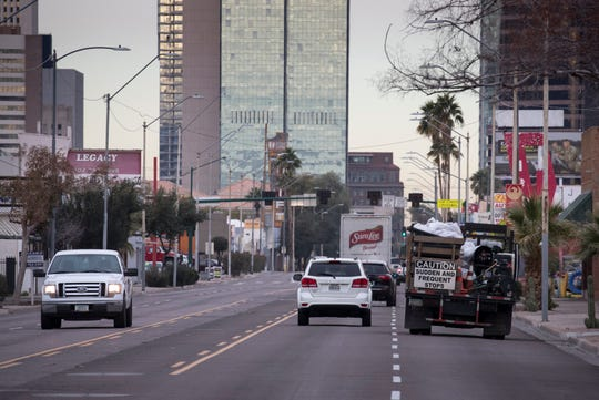 In 2015, Phoenix voters approved a$31.5 billion, 35-year transportation plan, funded by a sales-tax increase. The plan included funds forstreet repairs, bus service and light-rail expansions.