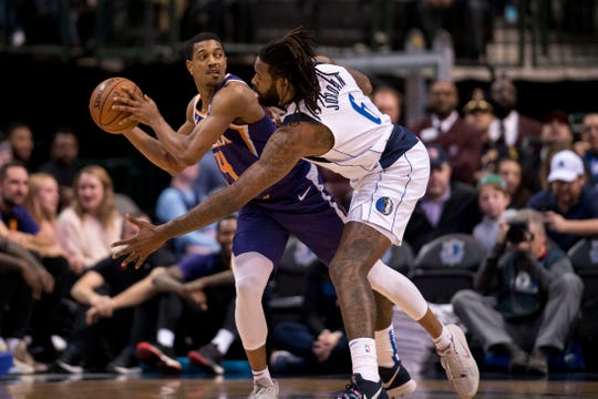 Jan 9, 2019; Dallas, TX, USA; Dallas Mavericks center DeAndre Jordan (6) guards Phoenix Suns guard De'Anthony Melton (14) during the first quarter at the American Airlines Center. Mandatory Credit: Jerome Miron-USA TODAY Sports
