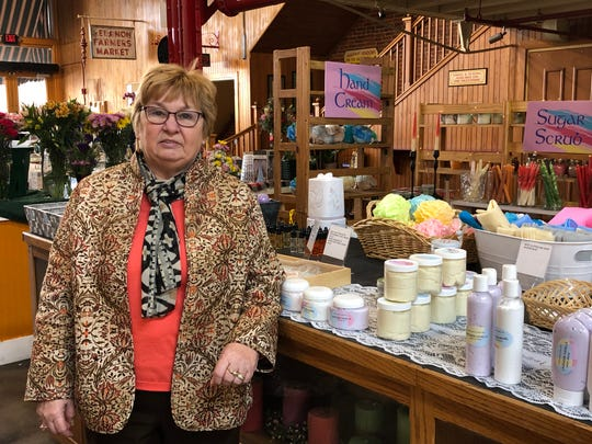 Darlene Karsten runs Kalmea Candles & Body Care, a new stand at the Lebanon Farmers Market.