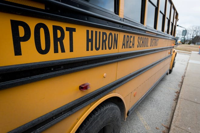 A Port Huron Area School District bus sits in the lot outside of Crull Elementary School Wednesday, Jan. 9, 2019.