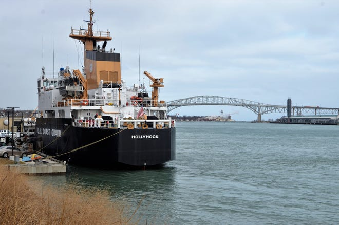 The Coast Guard cutter Hollyhock sits near Pine Grove Park in Port Huron on Jan. 10, 2019. In the midst of a federal government shutdown, members of the U.S. Coast Guard received pay for December, but it is unknown if their next check will come through.