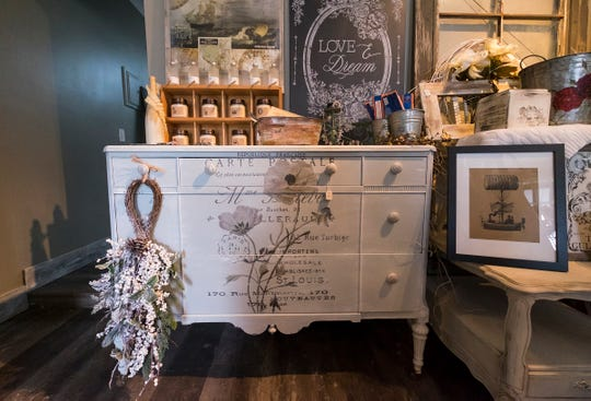 Thelma & Louise Design Studio offers custom hand-painted furniture and other hand-made products.