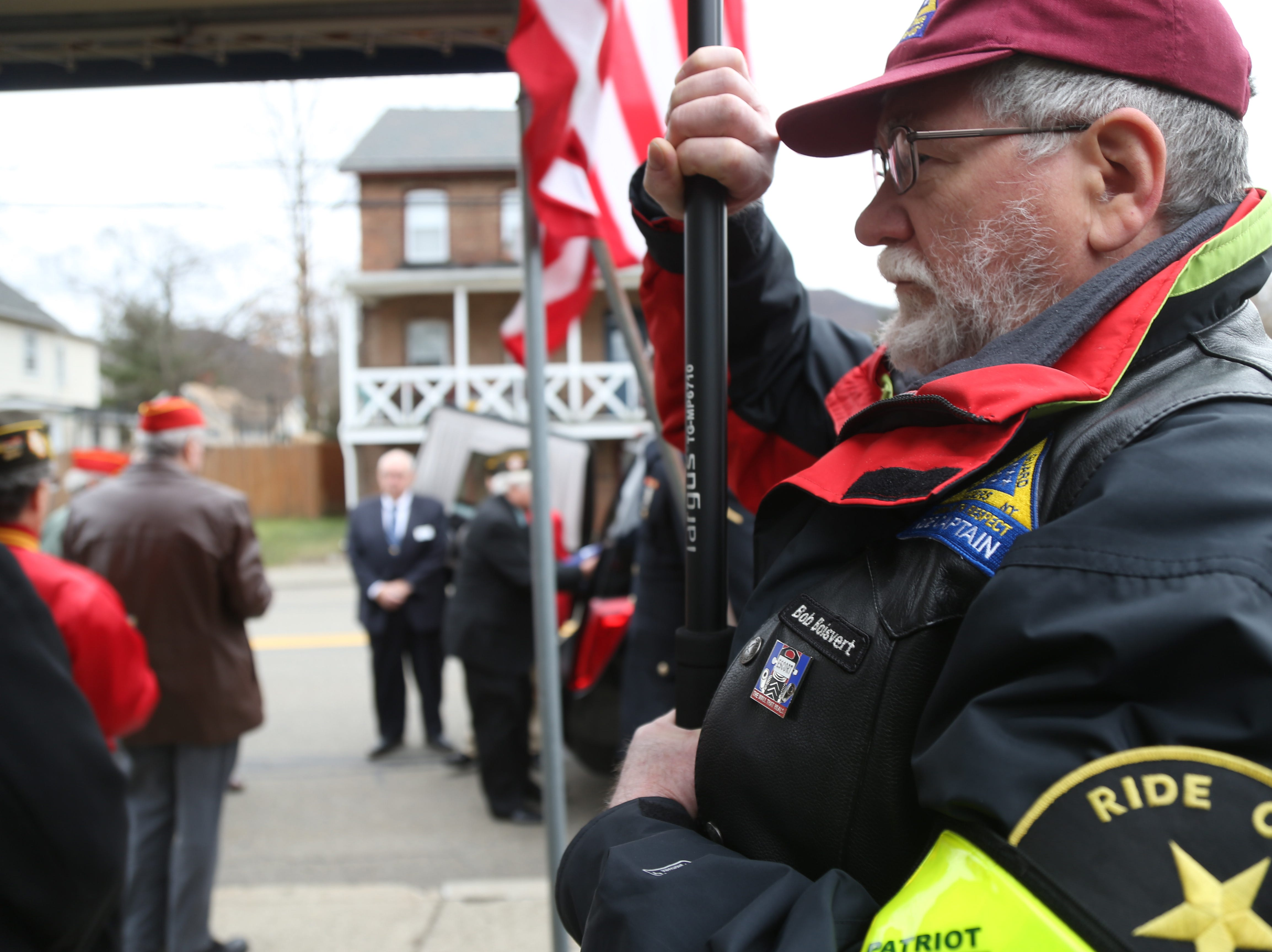 Patriot Guard captain Bob Boisvert astand in attendance of Thursday's memorial service for four veterans at Libby Funeral Home in Beacon on January 10, 2019. The Patriot Guard accompanied the cremains on their way to Calverton National Cemetery on Long Island.