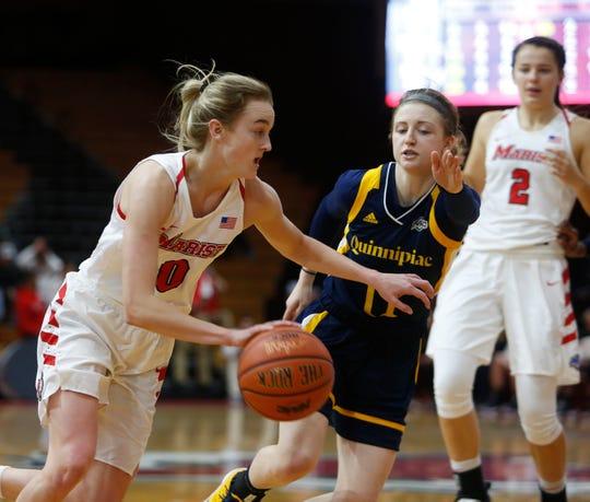 Marist College's Grace Vander Weide drives to the basket against Quinnipiac on Jan. 10.