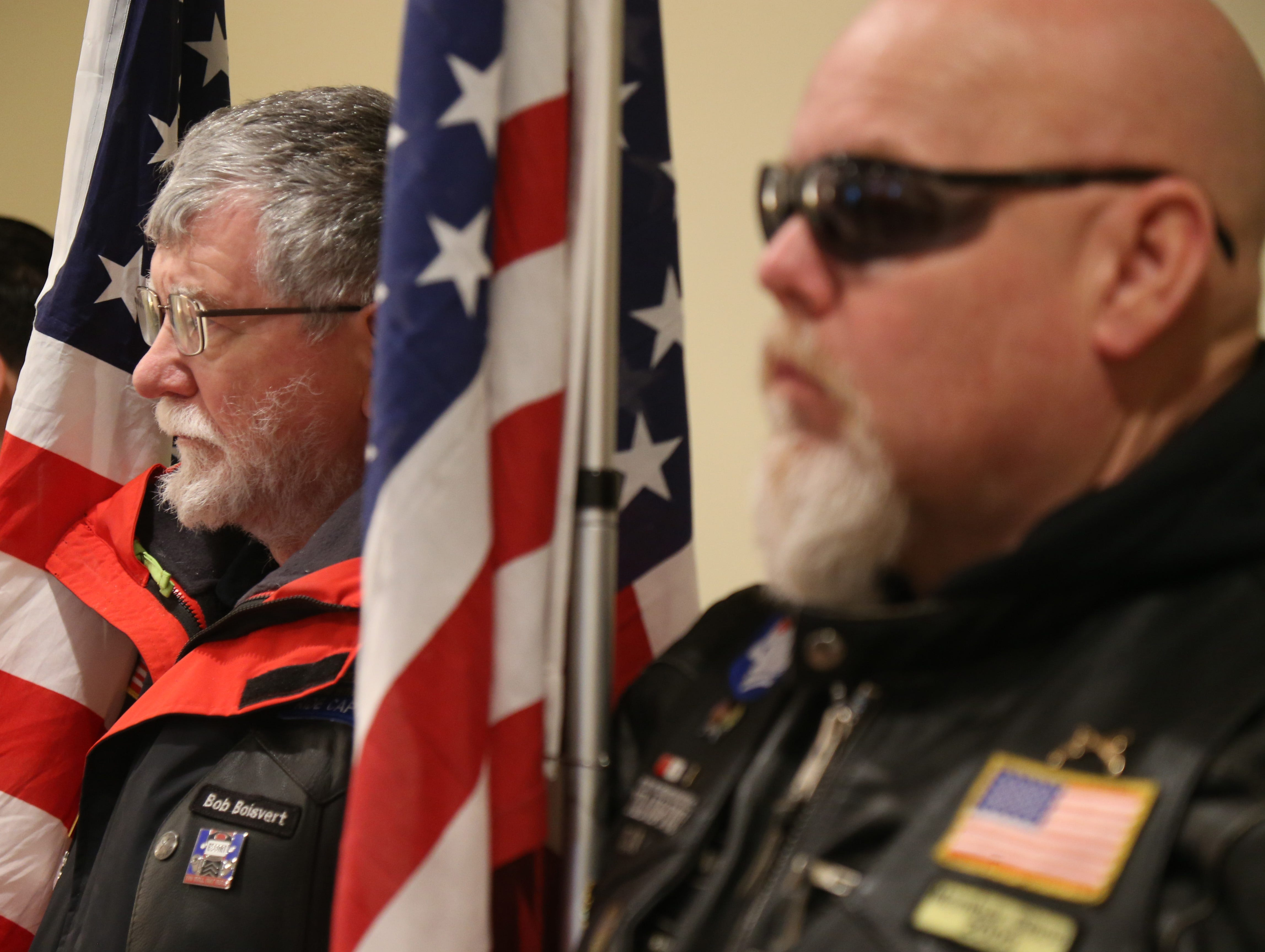 Patriot Guards, from left Bob Boisvert and Ken Titland stand in attendance of Thursday's memorial service for four veterans at Libby Funeral Home in Beacon on January 10, 2019. The Patriot Guard accompanied the cremains on their way to Calverton National Cemetery on Long Island.