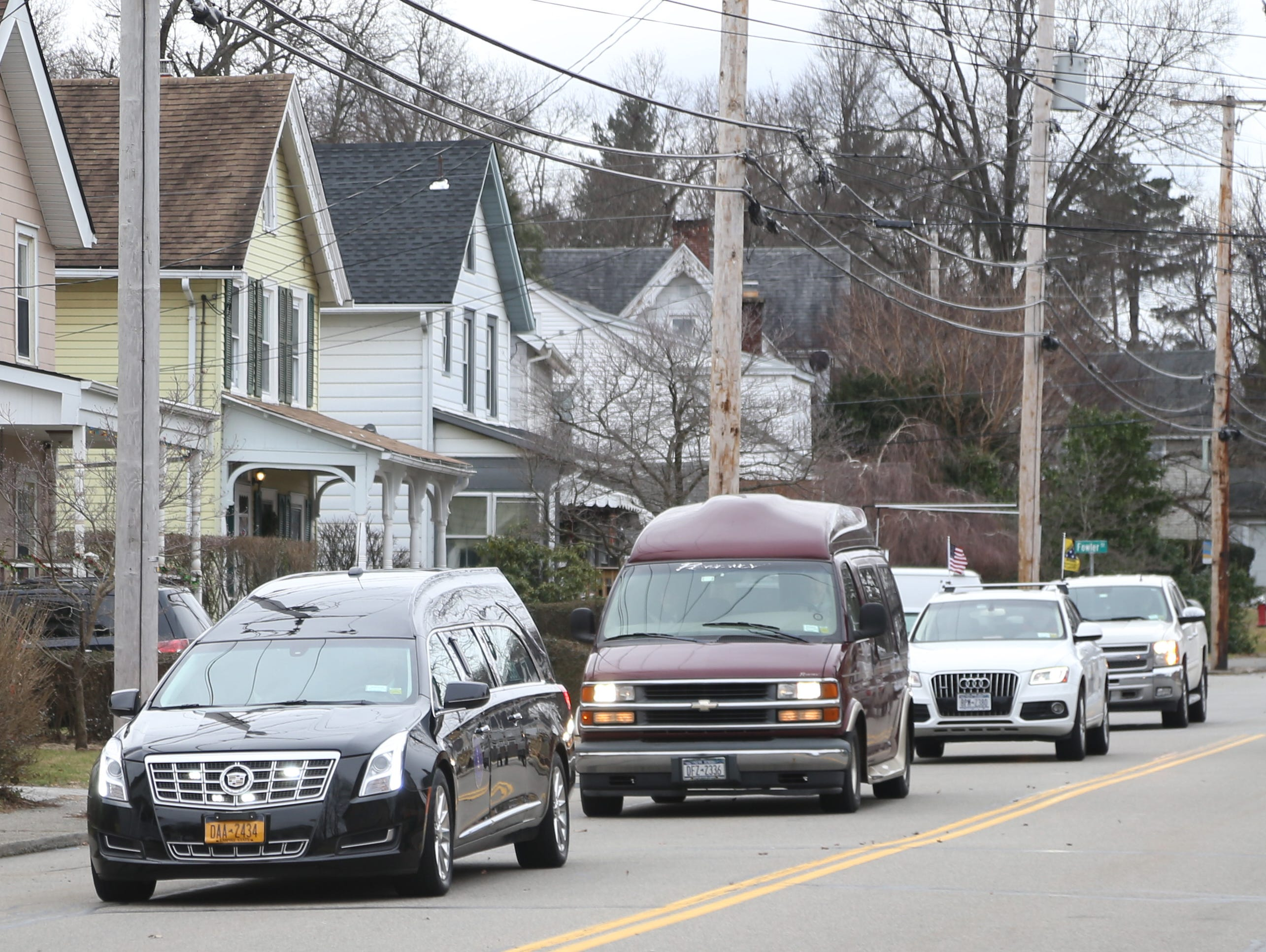 The funeral procession following Thursday's memorial service for four veterans at Libby Funeral Home in Beacon on January 10, 2019. The four veterans' cremains were in storage at the funeral home through several owners and are now being laid to rest at Calverton National Cemetery on Long Island.