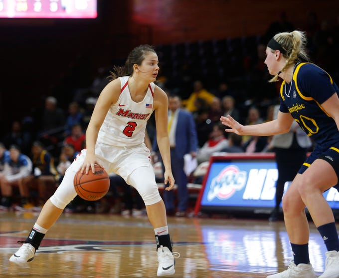 Marist's Allie Best looks for an open teammate as Quinnipiac's Paige Warfel covers her during Thursday's game.