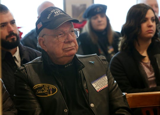 Anthony Kraiza, of the Rolling Thunder Motorcycle Club in attendance of Thursday's memorial service for four veterans at Libby Funeral Home in Beacon on January 10, 2019.