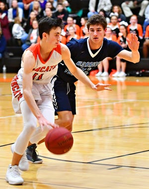 Northeastern's Andrew Brodbeck, shown here dribbling in a game against Manheim Township this season, scored 26 points in the Bobcats' win over Dallastown on Monday. Dawn J. Sagert photo