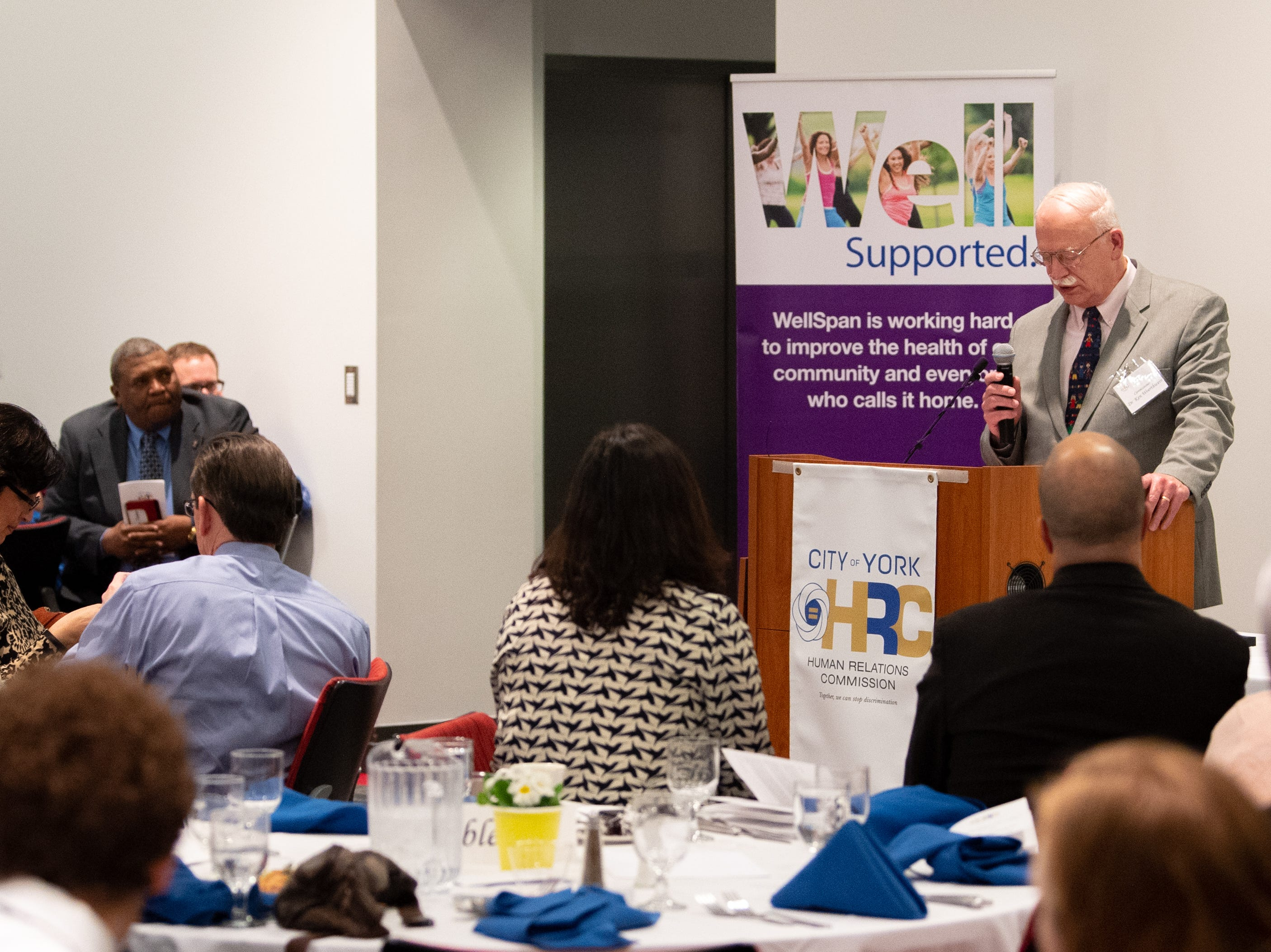 Legacy Award winner Dr. Kenneth Woerthwein addresses the crowd about his wife and fellow award winner during the 2019 City of York Human Relations Commission Diversity Dinner at York College, January 9, 2019.