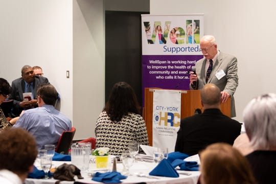 Legacy Award winner Dr. Kenneth Woerthwein addresses the crowd about his late wife and fellow award winner, Wicky, during the 2019 City of York Human Relations Commission Diversity Dinner at York College on Wednesday.