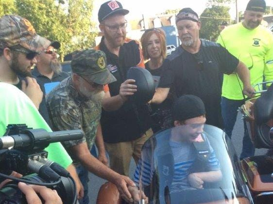 Hunter was surrounded by dozens of York County bikers trying to make his ride perfect.