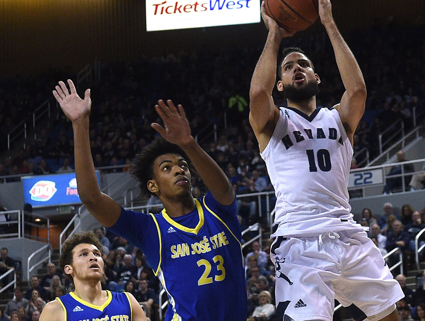 Nevada's Caleb Martin shoots while taking on San Jose State during their basketball game at Lawlor Events Center in Reno on Jan. 9, 2019.