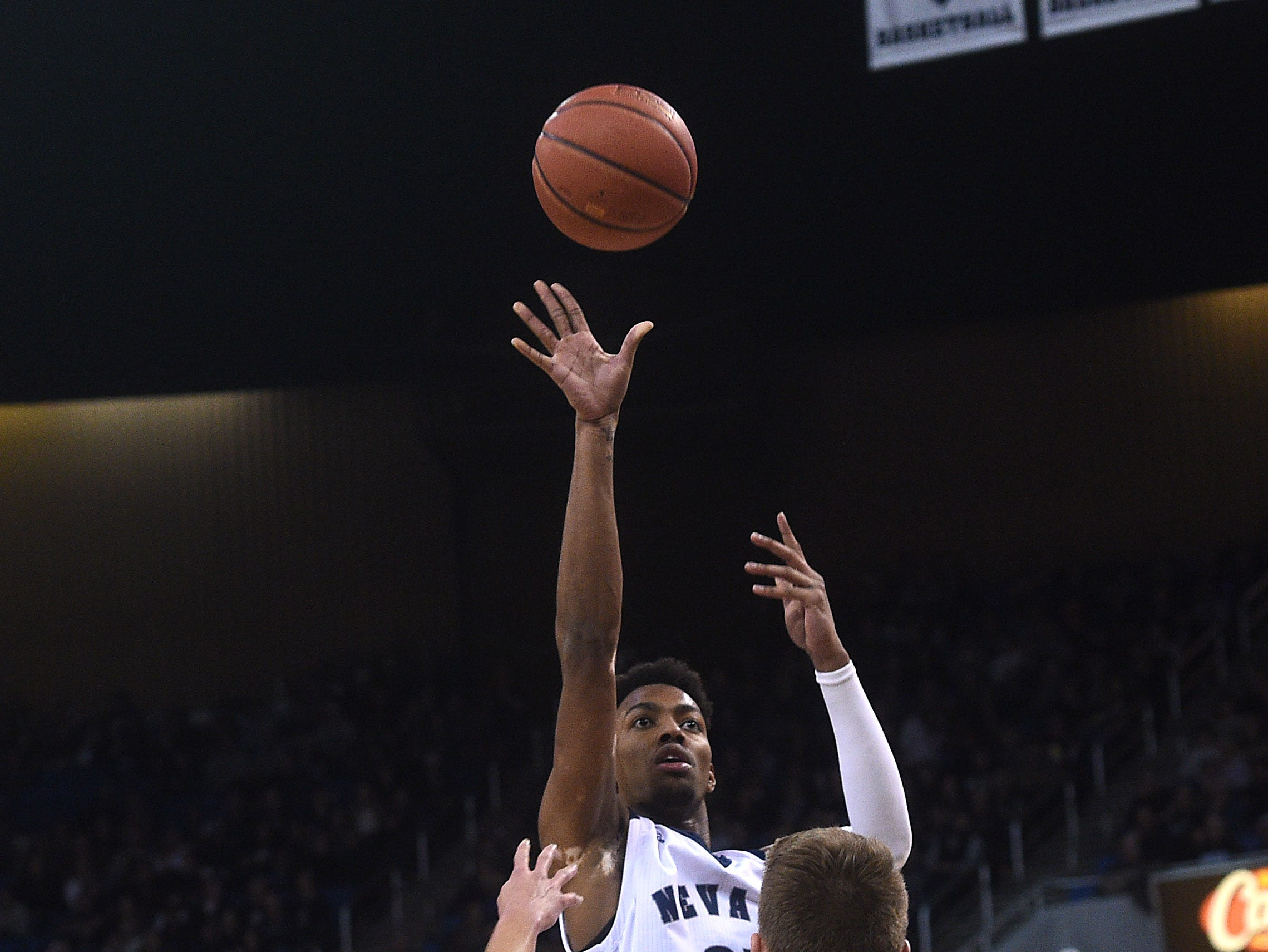 Nevada's Jordan Brown shoots while taking on San Jose State during their basketball game at Lawlor Events Center in Reno on Jan. 9, 2019.
