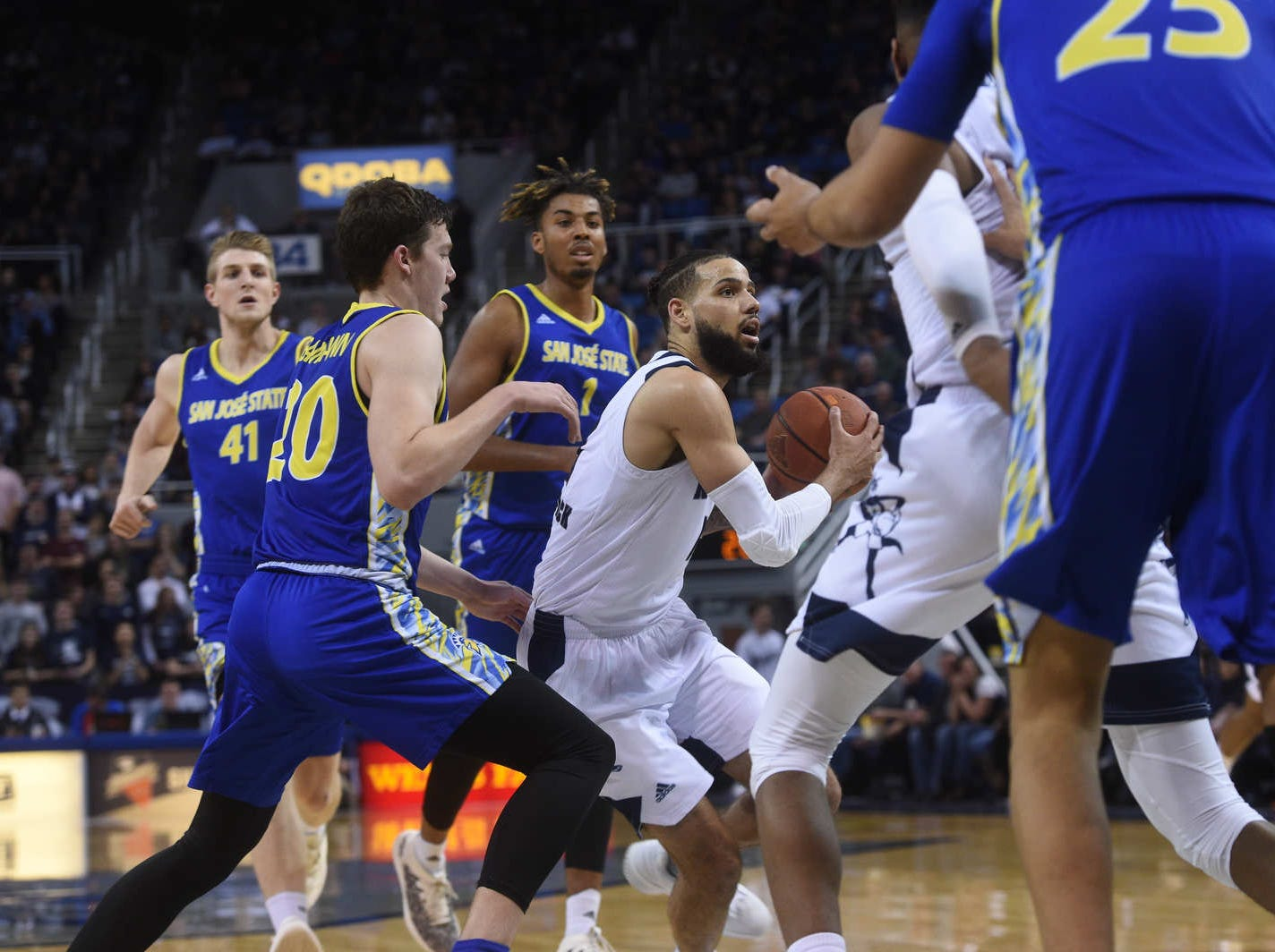 Nevada takes on San Jose State during their basketball game at Lawlor Events Center in Reno on Jan. 9, 2019.