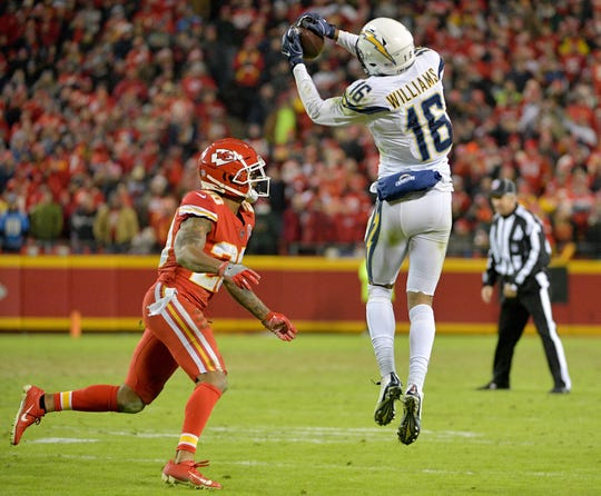 Los Angeles Chargers wide receiver Tyrell Williams (16) catches a pass in Kansas City.