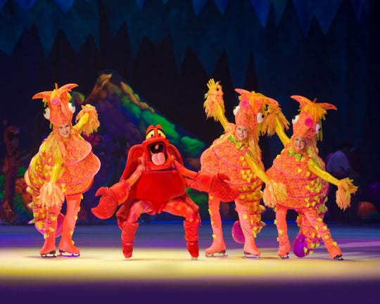 The Little Mermaid's Sebastian and the seahorses are featured in Disney On Ice:  Worlds of Enchantment.