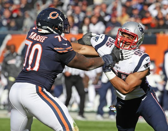 Bobby Massie (70) of the Chicago Bears blocks Derek Rivers of the Patriots during a game on October 21, 2018 at Soldier Field. Massie will be a free agent this spring.