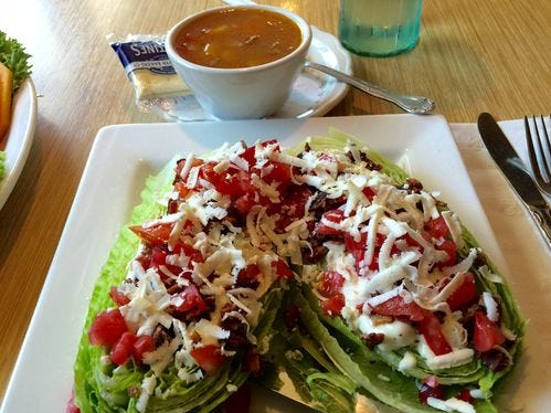 Hearts of romaine wedges salad special with cup of vegetable and beef soup in August 2016 at Corbett's.