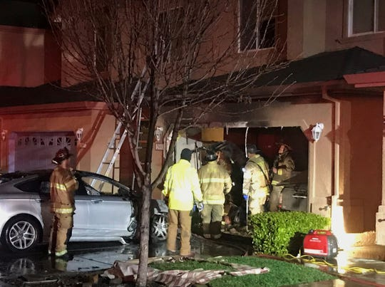 A vehicle fire broke out at 4:42 a.m. Thursday at a townhouse on Sinaloa Trail. Firefighters had the blaze under control in about 10 minutes.