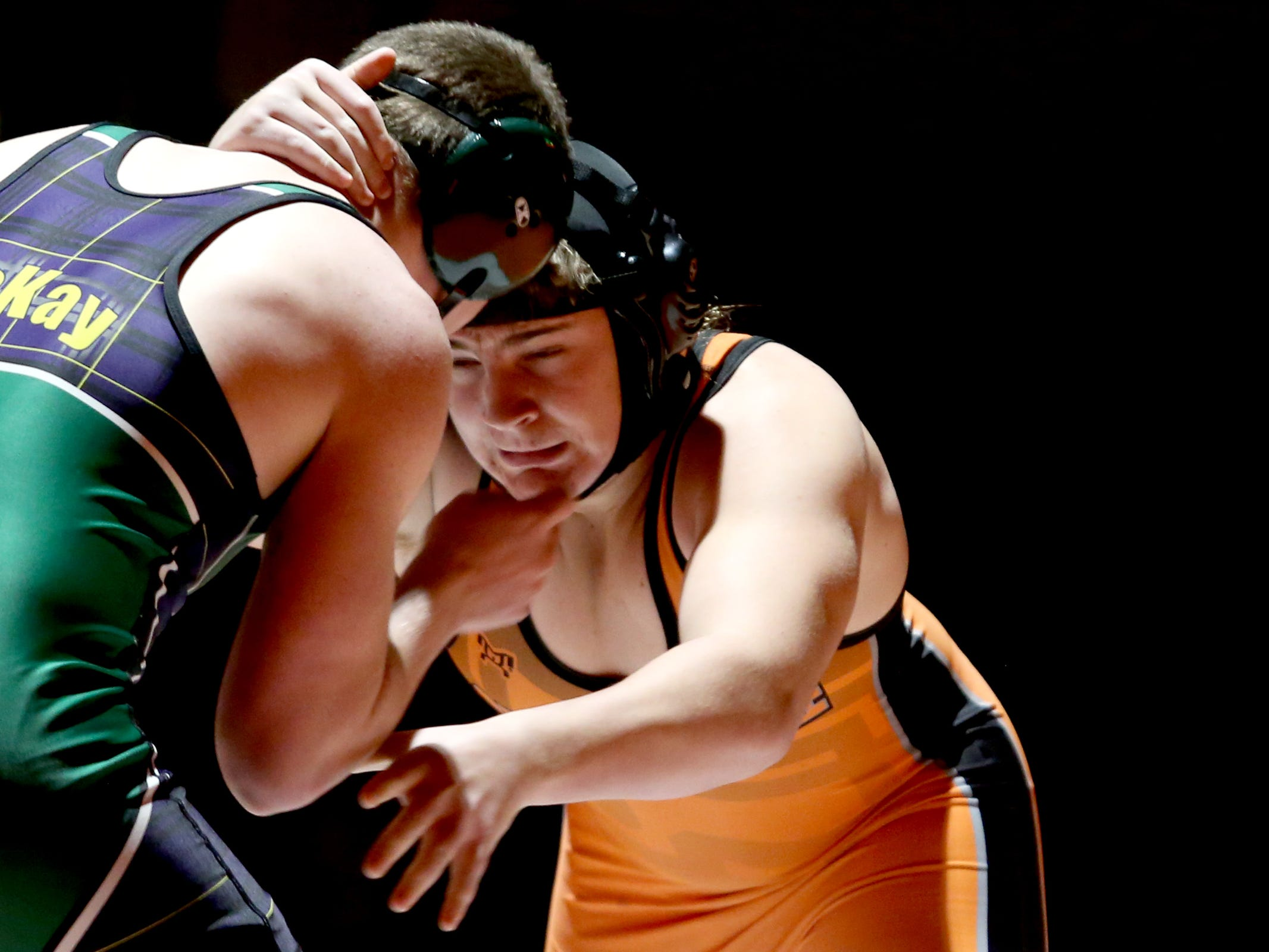 Sprague's Soren Sorensen, facing, and McKay's Gerald Jennings compete in the 195 pound weight class during the McKay vs. Sprague wrestling meet at Sprague High School in Salem on Wednesday, Jan. 9, 2019.
