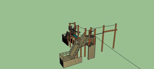 Blue prints for the ropes course coming to Sonrisas Trails in the summer of 2019.
