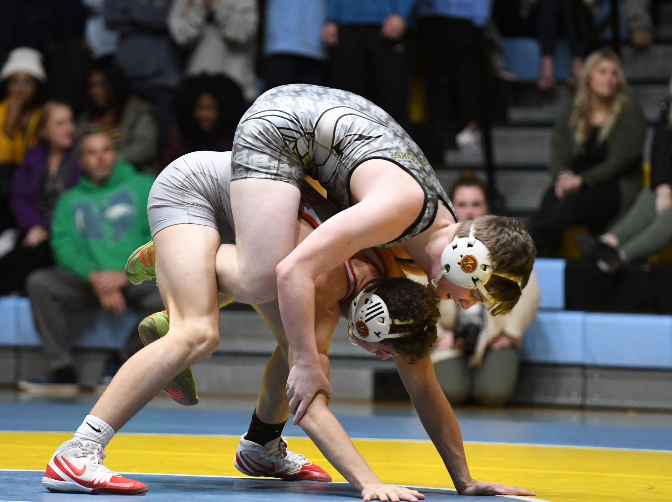 Cape's Jackson Handlin took on Smyrna's Gavin Sembly during the 160lb weight class on Wednesday, Jan. 10, 2019. Cape won the match 34-33.