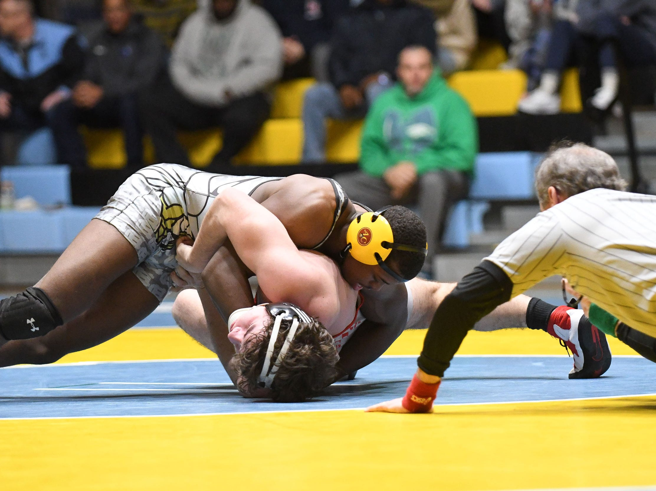 Cape's Roy Jones took on Smyrna's Donald McAlpine during the 170lb weight class on Wednesday, Jan. 10, 2019. Cape won the match 34-33.