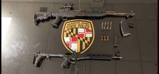 Two guns were seized during an early morning traffic stop in Salisbury, Maryland on Thursday, Jan. 10, 2019.