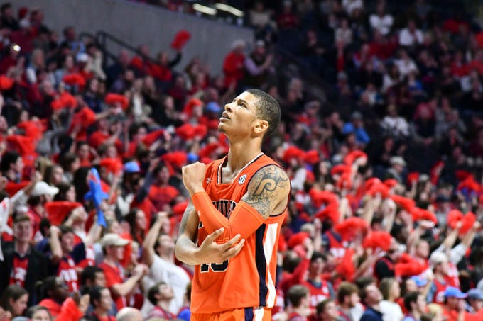 Jan 9, 2019; Oxford, MS, USA; Auburn Tigers guard Samir Doughty (10) looks up at the scoreboard during the second half of the game against the Mississippi Rebels at The Pavilion at Ole Miss. Mandatory Credit: Matt Bush-USA TODAY Sports