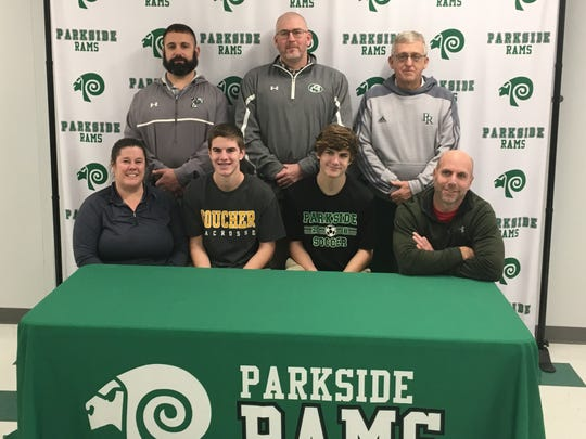 Parkside senior Stevie Mancha (Bottom, second to left) announces hit commitment to play lacrosse at Goucher College.